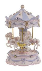 OPT2-70-814-0007. POLYRESIN CLOCKWORK CAROUSEL WITH SPIN/M